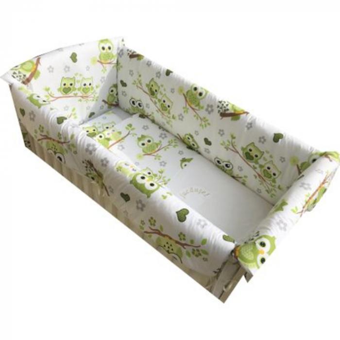 Set lenjerie pentru bebelusi cu aparatori laterale, Bufnita verde, bumbac 100% 1
