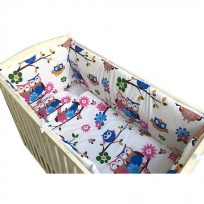 Set lenjerie pentru bebelusi cu aparatori laterale, Bufnita vesela, bumbac 100% [0]