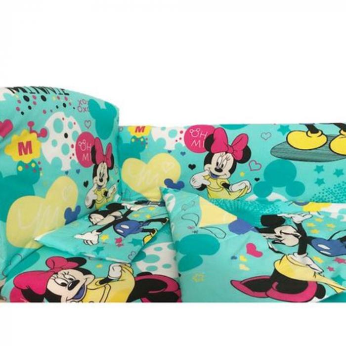 Set lenjerie pentru bebelusi cu aparatori laterale, Minnie & Mickey Mouse, bumbac 100% [1]