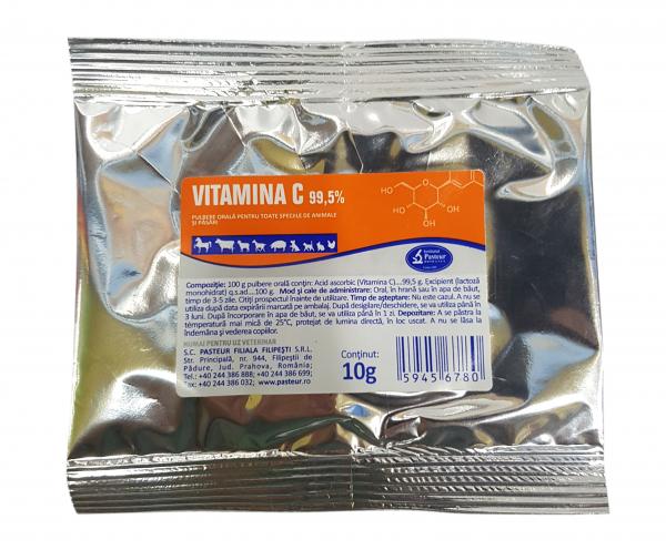 Vitamina C 99.5% 10g pentru caini, pisici, cabaline, suine, ovine, caprine, bovine si pasari, Pasteur 0