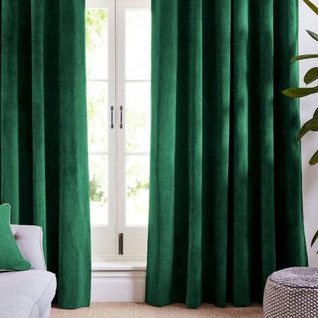 Set draperii din catifea cu rejansa, Premium, 150x210 cm, densitate 700 g/mp, Verde Smarald, 2 buc1