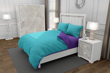Lenjerie de pat matrimonial SUPER cu 4 huse de perna cu mix dimensiuni, Duo Blue, bumbac satinat, gramaj tesatura 120 g/mp, Blue/Mov, 6 piese0