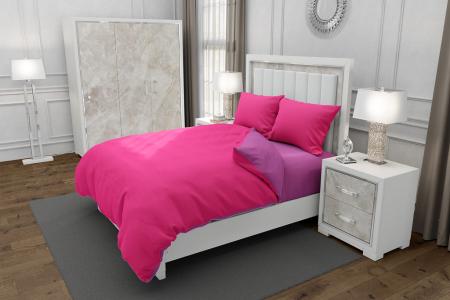 Lenjerie de pat matrimonial SUPER cu 4 huse de perna cu mix dimensiuni, Duo Fuchsia, bumbac satinat, gramaj tesatura 120 g/mp, Fucsia/Roz, 6 piese0