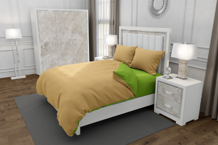 Lenjerie de pat matrimonial cu husa elastic pat si fata perna dreptunghiulara, Duo Green, bumbac satinat, gramaj tesatura 120 g/mp, Bej/Verde, 4 piese [0]