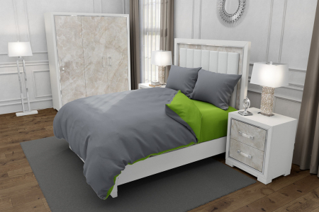 Lenjerie de pat matrimonial cu husa elastic pat si fata perna dreptunghiulara, Duo Green, bumbac satinat, gramaj tesatura 120 g/mp, Gri/Verde, 4 piese [0]