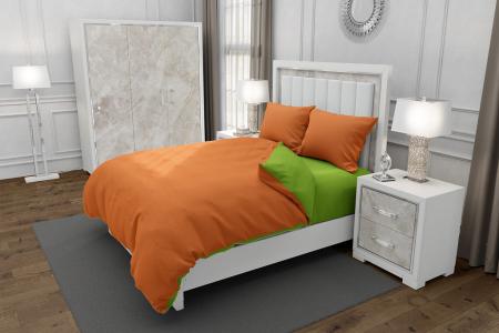 Lenjerie de pat matrimonial cu husa elastic pat si fata perna dreptunghiulara, Duo Green, bumbac satinat, gramaj tesatura 120 g/mp, Portocaliu/Verde, 4 piese [0]
