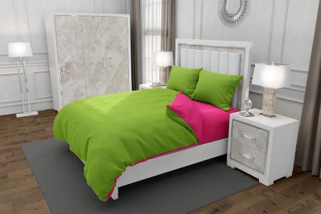 Lenjerie de pat matrimonial SUPER cu 4 huse de perna cu mix dimensiuni, Duo Green, bumbac satinat, gramaj tesatura 120 g/mp, Verde/Fucsia, 6 piese [0]