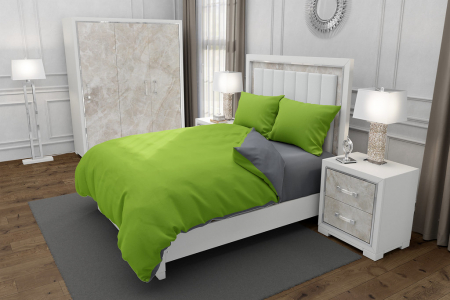 Lenjerie de pat matrimonial cu husa elastic pat si 4 huse perna cu mix dimensiuni, Duo Green, bumbac satinat, gramaj tesatura 120 g/mp, Verde/Gri, 6 piese [0]