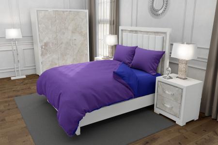 Lenjerie de pat pentru o persoana cu 2 huse de perna dreptunghiulara, Duo Purple, bumbac satinat, gramaj tesatura 120 g/mp, Mov/Albastru, 4 piese [0]