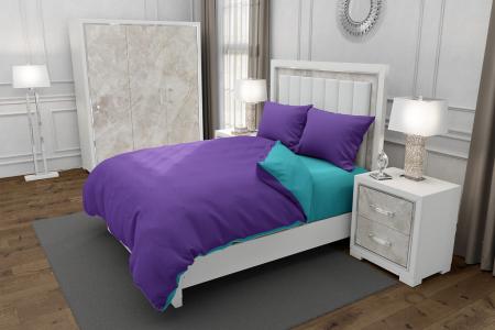 Lenjerie de pat pentru o persoana cu husa de perna dreptunghiulara, Duo Purple, bumbac satinat, gramaj tesatura 120 g/mp, Mov/Blue, 3 piese [0]