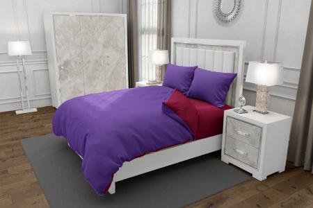 Lenjerie de pat matrimonial SUPER cu husa de perna dreptunghiulara, Duo Purple, bumbac satinat, gramaj tesatura 120 g/mp, Mov/Grena, 4 piese [0]