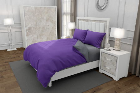 Lenjerie de pat pentru o persoana cu 2 huse de perna dreptunghiulara, Duo Purple, bumbac satinat, gramaj tesatura 120 g/mp, Mov/Gri, 4 piese [0]