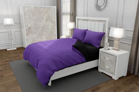 Lenjerie de pat matrimonial cu husa de perna dreptunghiulara, Duo Purple, bumbac satinat, gramaj tesatura 120 g/mp, Mov/Negru, 4 piese0
