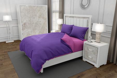Lenjerie de pat pentru o persoana cu husa de perna dreptunghiulara, Duo Purple, bumbac satinat, gramaj tesatura 120 g/mp, Mov/Roz, 3 piese0