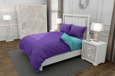 Lenjerie de pat pentru o persoana cu husa elastic pat si fata perna dreptunghiulara, Duo Purple, bumbac satinat, gramaj tesatura 120 g/mp, Mov/Turcoaz, 3 piese [0]