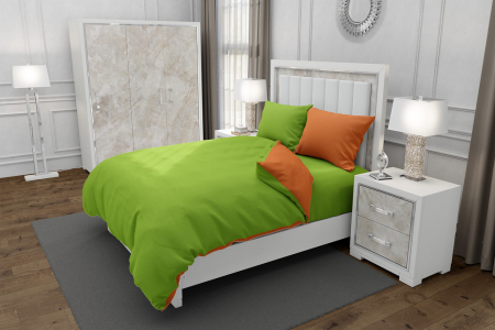 Lenjerie de pat matrimonial SUPER cu 4 huse de perna dreptunghiulara si mix culori, Duo Green, bumbac satinat, gramaj tesatura 120 g/mp, Verde/Portocaliu, 6 piese [0]