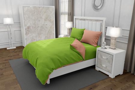 Lenjerie de pat matrimonial SUPER cu 4 huse de perna dreptunghiulara si mix culori, Duo Green, bumbac satinat, gramaj tesatura 120 g/mp, Verde/Somon, 6 piese [0]