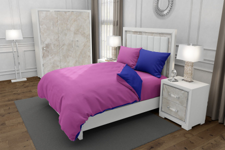 Lenjerie de pat matrimonial SUPER cu 4 huse de perna dreptunghiulara si mix culori, Duo Pink, bumbac satinat, gramaj tesatura 120 g/mp, Roz/Albastru, 6 piese [0]