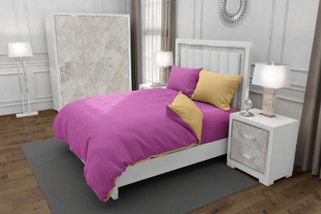 Lenjerie de pat matrimonial SUPER cu 4 huse de perna dreptunghiulara si mix culori, Duo Pink, bumbac satinat, gramaj tesatura 120 g/mp, Roz/Crem, 6 piese0