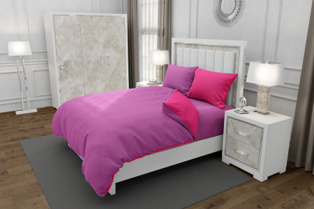 Lenjerie de pat pentru o persoana cu husa elastic pat si 2 fete perna dreptunghiulara cu mix culoare, Duo Pink, bumbac satinat, gramaj tesatura 120 g/mp, Roz/Fucsia, 4 piese0