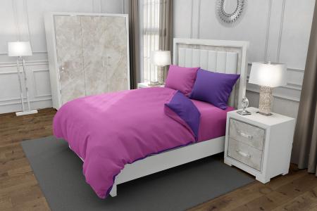 Lenjerie de pat matrimonial SUPER cu 4 huse de perna dreptunghiulara si mix culori, Duo Pink, bumbac satinat, gramaj tesatura 120 g/mp, Roz/Mov, 6 piese0