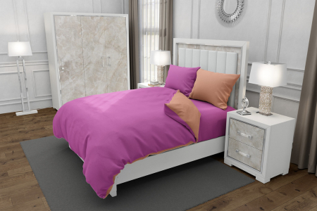 Lenjerie de pat pentru o persoana cu 2 huse de perna dreptunghiulara cu mix culoare, Duo Pink, bumbac satinat, gramaj tesatura 120 g/mp, Roz/Somon, 4 piese0