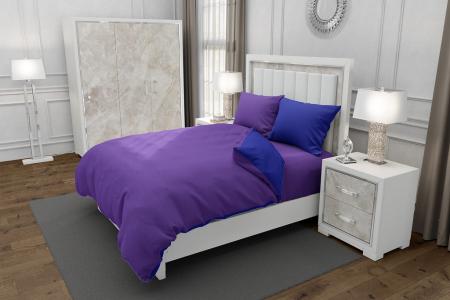 Lenjerie de pat matrimonial SUPER cu 4 huse de perna dreptunghiulara si mix culori, Duo Purple, bumbac satinat, gramaj tesatura 120 g/mp, Mov/Albastru, 6 piese [0]
