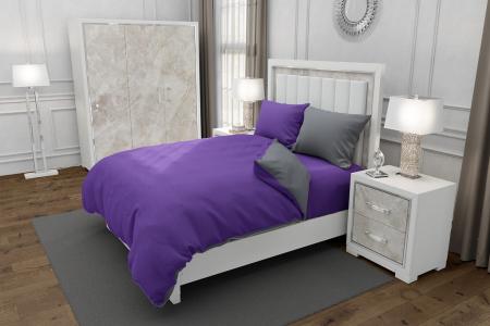 Lenjerie de pat matrimonial cu husa elastic pat si 4 huse perna dreptunghiulara si mix culori, Duo Purple, bumbac satinat, gramaj tesatura 120 g/mp, Mov/Gri, 6 piese0