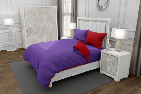 Lenjerie de pat matrimonial cu husa elastic pat si 4 huse perna dreptunghiulara si mix culori, Duo Purple, bumbac satinat, gramaj tesatura 120 g/mp, Mov/Rosu, 6 piese0