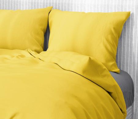 Lenjerie de pat matrimonial cu husa de perna dreptunghiulara, Aiden, bumbac satinat, gramaj tesatura 120 g/mp, galben [1]