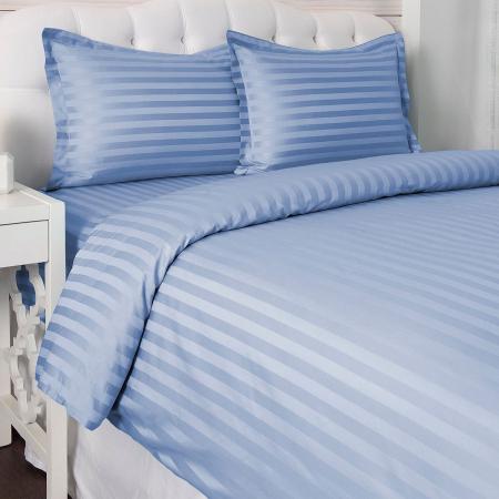 Lenjerie de pat matrimonial cu husa de perna dreptunghiulara, Elegance, damasc, dunga 1 cm 130 g/mp, Albastru, bumbac 100% [0]