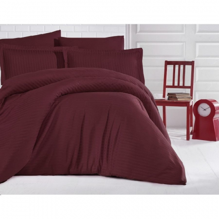 Lenjerie de pat matrimonial cu husa de perna dreptunghiulara, Elegance, damasc, dunga 1 cm 130 g/mp, Bordeaux, bumbac 100%0