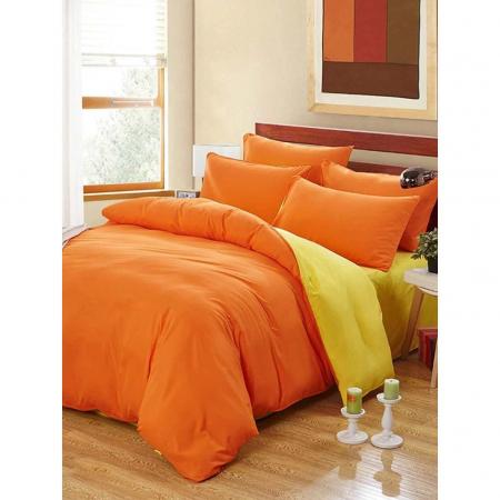 Lenjerie de pat matrimonial cu husa de perna dreptunghiulara, Watford, bumbac satinat, gramaj tesatura 120 g/mp, Portocaliu0