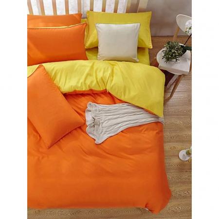 Lenjerie de pat matrimonial cu husa de perna dreptunghiulara, Watford, bumbac satinat, gramaj tesatura 120 g/mp, Portocaliu1