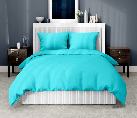 Lenjerie de pat pentru o persoana cu husa de perna dreptunghiulara, Leah, bumbac satinat, gramaj tesatura 120 g/mp, turcoaz [0]