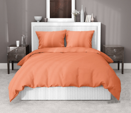 Lenjerie de pat pentru o persoana cu husa elastic pat si fata perna dreptunghiulara, Gianna, bumbac satinat, gramaj tesatura 120 g/mp, somon [0]