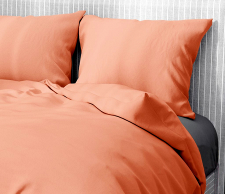 Lenjerie de pat pentru o persoana cu husa elastic pat si fata perna dreptunghiulara, Gianna, bumbac satinat, gramaj tesatura 120 g/mp, somon [1]