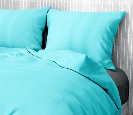 Lenjerie de pat pentru o persoana cu husa elastic pat si fata perna dreptunghiulara, Leah, bumbac satinat, gramaj tesatura 120 g/mp, turcoaz [1]