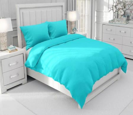Lenjerie de pat pentru o persoana cu husa elastic pat si fata perna dreptunghiulara, Leah, bumbac satinat, gramaj tesatura 120 g/mp, turcoaz [2]