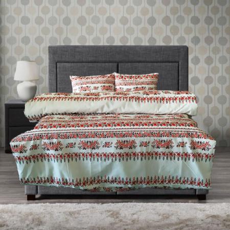 Lenjerie de pat pentru o persoana cu husa elastic pat si perna dreptunghiulara, Traditional, bumbac satinat, multicolor0