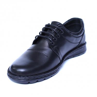 Pantofi barbati din piele naturala, Eddie, Cobra, Negru, 39 EU0