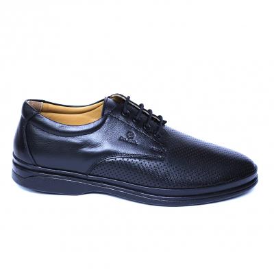Pantofi barbati din piele naturala cu talpa ortopedica, Flow, Dr. Jells, Negru, 40 EU [3]