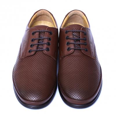 Pantofi barbati din piele naturala cu talpa ortopedica, Flow, Dr. Jells, Maro, piele naturala, 39 EU1