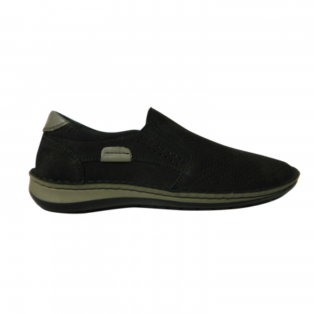 Pantofi casual pentru barbati din piele naturala, Florida, Dr. Jells, Negru nabuc, 43 EU0