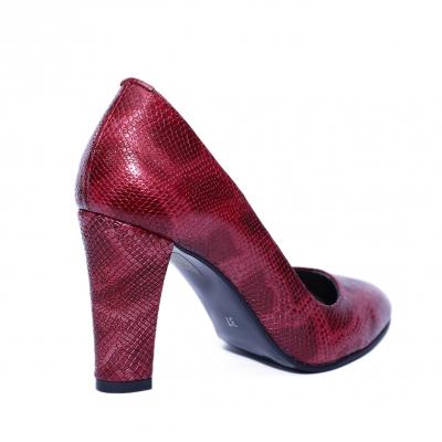 Pantofi dama din piele naturala, Croco, Nist, Rosu, 37 EU [2]