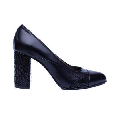 Pantofi dama din piele naturala, Zemer, Nist, Negru, 36 EU0