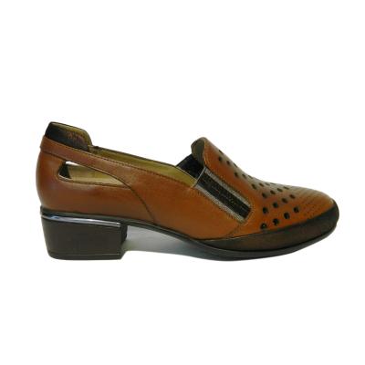 Pantofi dama cu perforatii Irina, piele naturala, Gitanos, Maro, 40 EU0