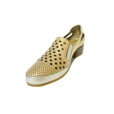 Pantofi dama cu perforatii Irina, piele naturala, Gitanos, Bej, 36 EU0