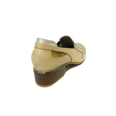 Pantofi dama cu perforatii Irina, piele naturala, Gitanos, Bej, 36 EU1