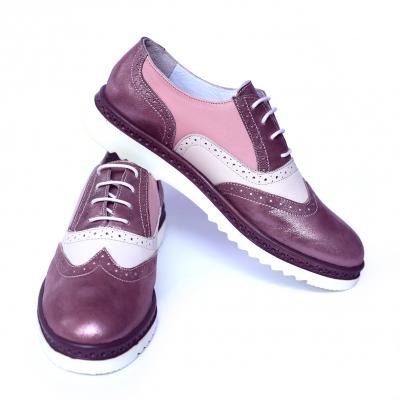 Pantofi dama din piele naturala, CZR, Peter, Roz, 39 EU2